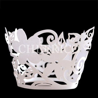 White Flora Cupcake Wrappers - 12units/pack