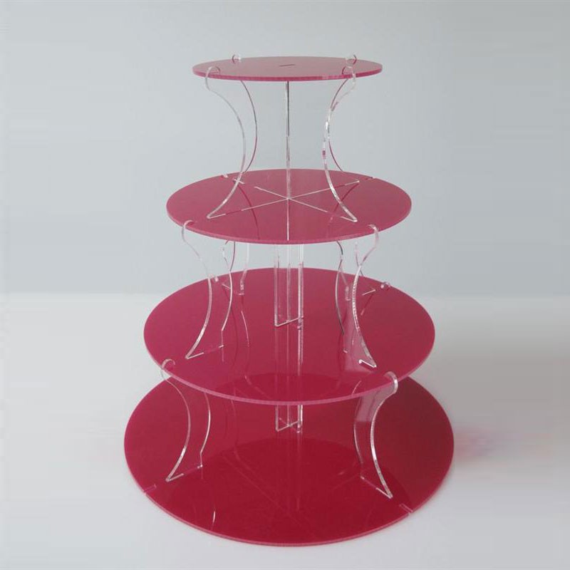 4 Tier Red Round Cupcake Stand