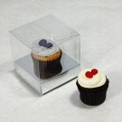 1 Cupcake Clear Mini Cupcake Boxes w Silver insert($1.20pc x 25 units)