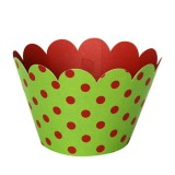 Red Polkatdot Green Cupcake Wrappers - 12units/pack